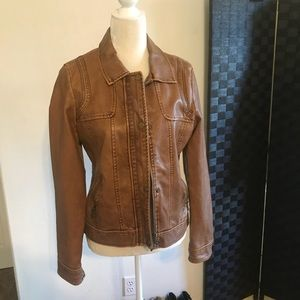 Beautiful Brown Faux Leather Jacket SZ L